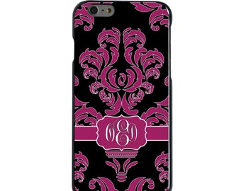Hard Snap-On Case for Apple 5 5S SE 6 6S 7 Plus - CUSTOM Monogram - Any Colors - Fuchsia Black White Damask Ribbon