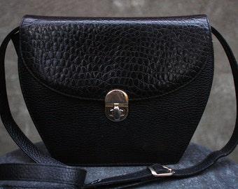 Vintage NORDSTROM Black Genuine Leather Shoulder Bag, Made in Italy