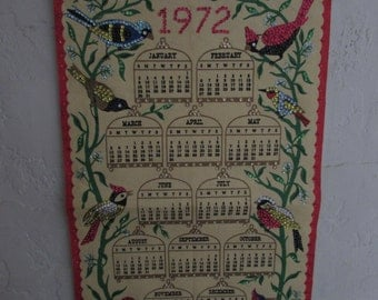 Free Shipping - Vintage 1972 Calendar (Birds)