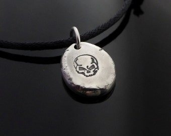 Sterling Silver Pebble Skull Necklace Choker