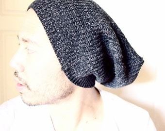 Beanie, slouchy beanie,winter beanie, black grey knit, son gift- dad gift, guy gift, ready to ship, christmas gift, dread hat