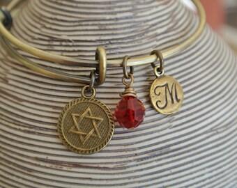 Bat Mitzvah Bracelet, Star of David, Swarovski Birthstone Crystal, Hand Stamped Initial Charm