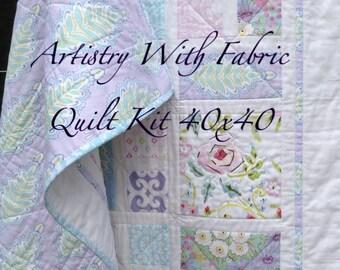 Cool Meadow Quilt KIT.  Cottage Chic 40x40 lavender, pink, aqua cottage chic