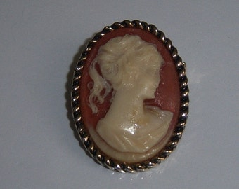 Small Cameo Brooch. Cameo Pin. Orange Cameo Jewelry.