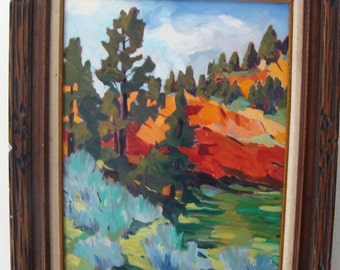 """Fabulous Impressionist """"RED VALLEY"""" Black Hills of Wyoming, by Tom Waugh Plein Aire Oil / Canvas"""