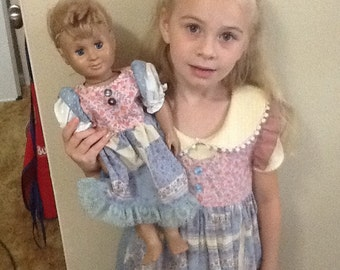 """Pink and Blue Prarie dress for 18"""" doll"""
