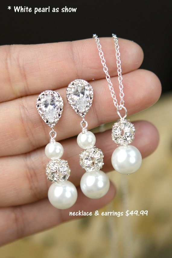 Wedding Jewelry Bridesmaid Gift Bridesmaid Jewelry Bridal Jewelry Pink ...