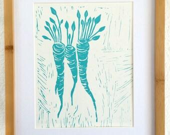 Linocut Print, Kitchen Art, Kitchen Print, Block Print, Linocut Block Print, Ink, Carrots, Linoleum Block Print