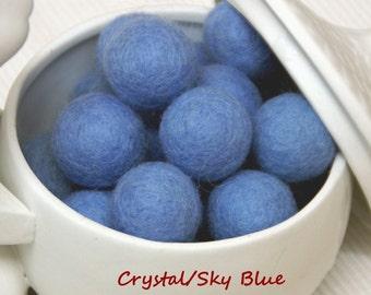 Felt Balls, Felt Beads, Pom Poms, Wool Beads , Color CRYSTAL BLUE/ SKY Blue, Sizes 1.0 cm, 1.5 cm, 2.0 cm, 2.5 cm, 3.0 cm, 4.0 cm