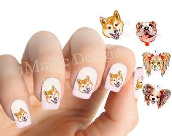 Nail Decals, Water Slide Nail Transfers, Dog Nail Stickers, Shiba Inu, Bulldog or Papillon