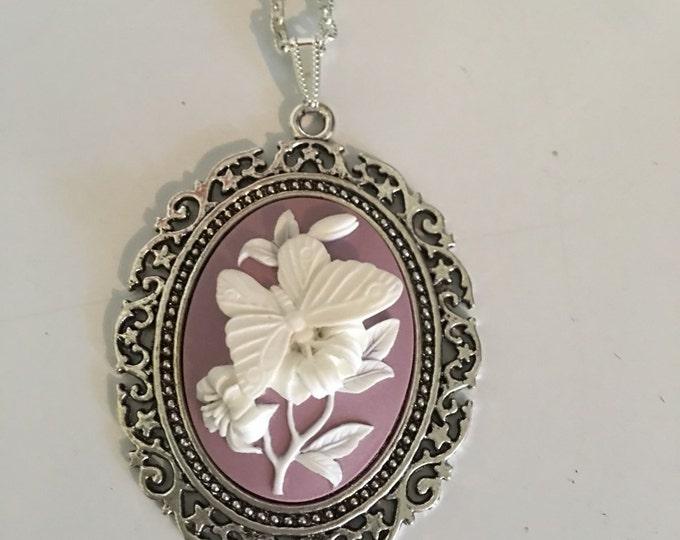 Butterfly Floral Lavendar Cameo Necklace-Purple Cabachon-