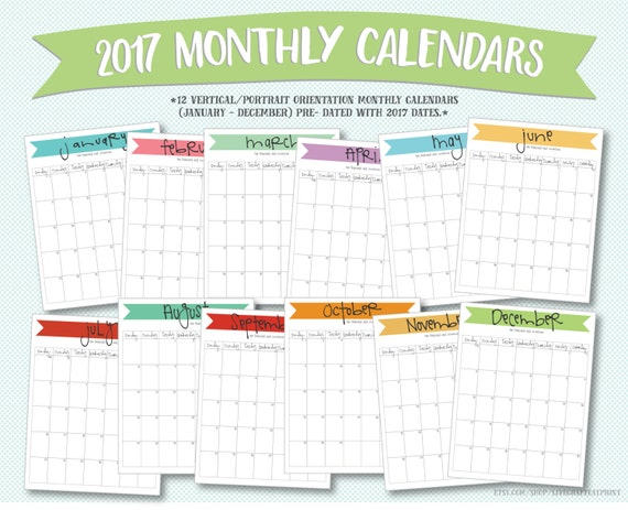 Printable 2017 monthly calendars portrait/vertical