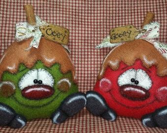 E-Pattern - Ooey Gooey Caramel Apples Pattern #203 - Primitive Doll/Ornies E-Pattern