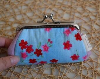 Flower,10cm Metal Frame Clip Purse, Coin Purse,  linen fabric cotton,bowknot,Small clutch