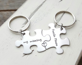 Puzzle piece keychains my missing puzzle piece hand stamped stainless steel set of two jewelry long distance relationship