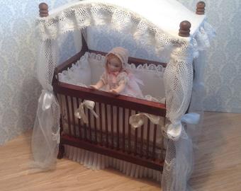 1:12 dollhouse cradle, 1/12miniature cradle, dollhouse furniture, handmade miniature
