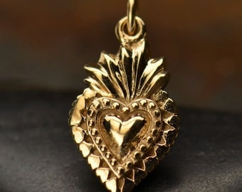 Natural Bronze Sacred Heart Charm