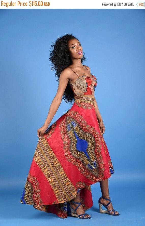 SALE NEW Red Dashiki High low Skirt