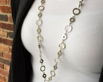 Triple Silver Circle Lanyard Necklace