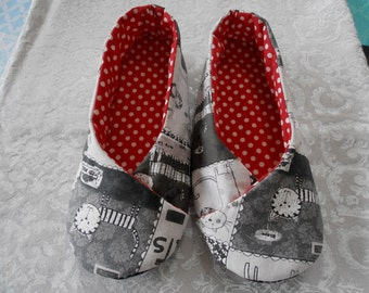 SLIPPERS women T36 kimono version grey and Red