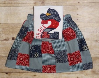 Cowgirl birthday outfit Girls Cowboy clothing rodeo birthday pony outfit Cowgirl birthday skirt set birthday clothing Birthday horse farm