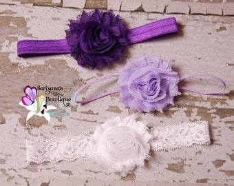 Baby Toddler Girl Woman Headband Set, Shabby Flower Headband, Purple Lavender White - SBst-014