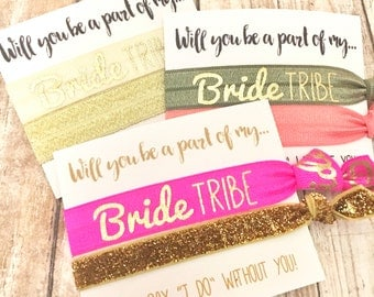 Bachelorette Party Favors | Bridesmaid Proposal | Bride Tribe Hair Tie | [GoldBrideTribe] -MOH-Survival Kit | To Have and To Hold