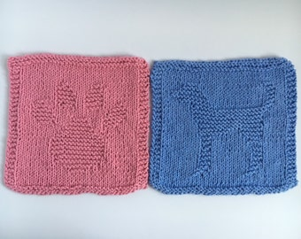Knit Dishcloths Set of Two: Paw and Dog KPKD01