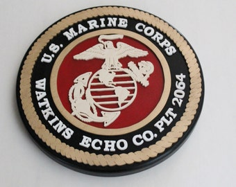 Personalized Graduation Plaque For Marine Corps - USMC Custom Wood Plaque - Red Center - Company - Platoon - Marine Gift - Boot Camp Gift