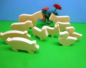 Farm Animal Toy Set, All Natural, Wood Pretend Toy Animals, Wooden Farm Toys, Gift for Kids, Animal Wood Toy, Farm Animal Toys