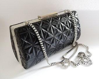 black leather clutch, black leather purse, black bag, black handbag, black shoulder bag, black synthetic leather, black satin, silver chain