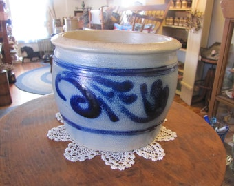 Vintage Antique Crock with Cobalt Blue Stenciling