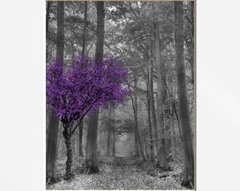 Black White Purple Wall Pictures, Tree Forest, Purple Home Decor Matted Picture