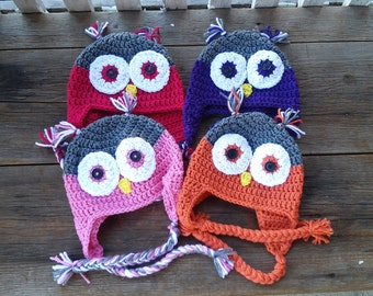 Ready-to-ship toddler sized owl hat