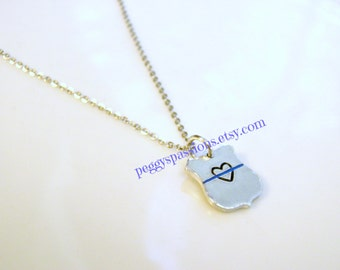 Heart and Thin Blue Line, hand stamped badge charm. Leo's & Corrections, Female Officer, Wife, Mother,Daughter.