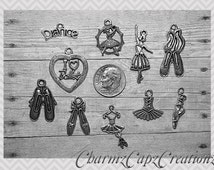 10pc Ballet / Charm Pendant Lot Set Collection / Jewelry, Scrapbooking, Crafts / Choose Split Rings, Lobster Clasps, or European Bails