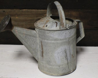 Vintage Galvanized Watering Can, Savory Galvanized Watering Can