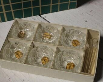 Bohemia Glass Salt Cellars with Spoons, Czechoslovakian Glass Salt Cellars