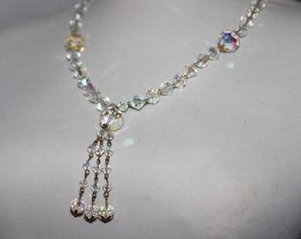 Lovely vintage aurora borealis glass beaded sautoir necklace