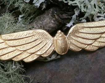 Raw Brass Stamping Scarab Beetle with Wings
