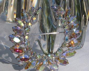 B. DAVID Signed Extraordinary Brilliant Aurora Borealis Rhinestone Open Wreath Brooch, Vintage Mid Century