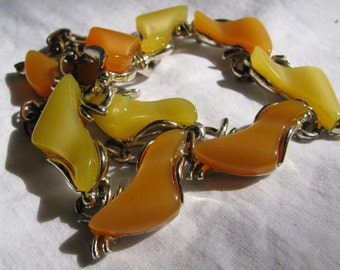"1960's ART Signed Lemon and Tangerine Abstract Shaped Thermoset Panel 16"" Choker Necklace"