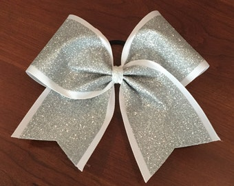 Cheer Bow - silver glitter on white