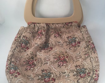 Retro Tapestry Handbag with Large Faux Wood Handles, Lined with 6 Pockets