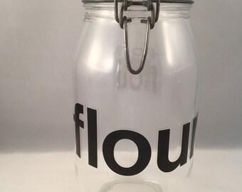 Large Clamp Lid FLOUR Jar