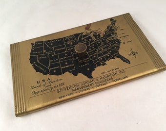 The Executive Map Paperweight with Bureau Census Data 1940's