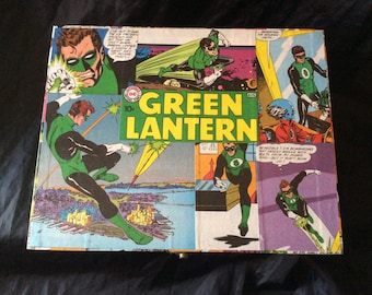 Green Lantern Hand Decorated Large Storage Chest Gift Box, Toy Chest