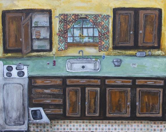 "Original mixed media painting ""Kitchen"" on canvas panel 20x16 inch, unframed art, folk art, interior painting, whimsical art, yellow kitchen"