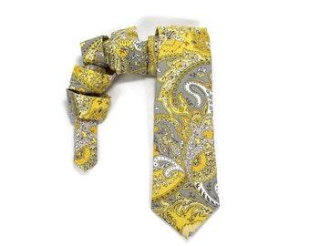 yellow grey tie, yellow grey paisley tie, easter tie, paisley tie, mens tie, wedding tie, bright yellow, soft grey, neck tie