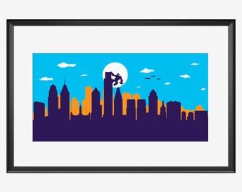 Philadelphia Skyline Print, King Kong inspired print, Philadelphia poster, Philadelphia Pennsylvania, Philadelphia art, Philadelphia print